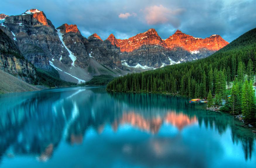 Por do Sol Morraine Lake, Alberta, Canadá