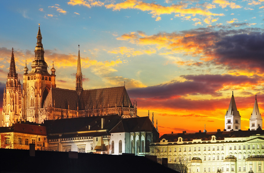 Castelo de Praga ao entardecer