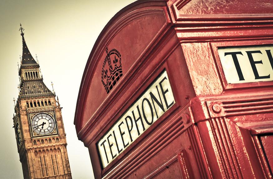 Cabide telefônica e Big Ben, Londres